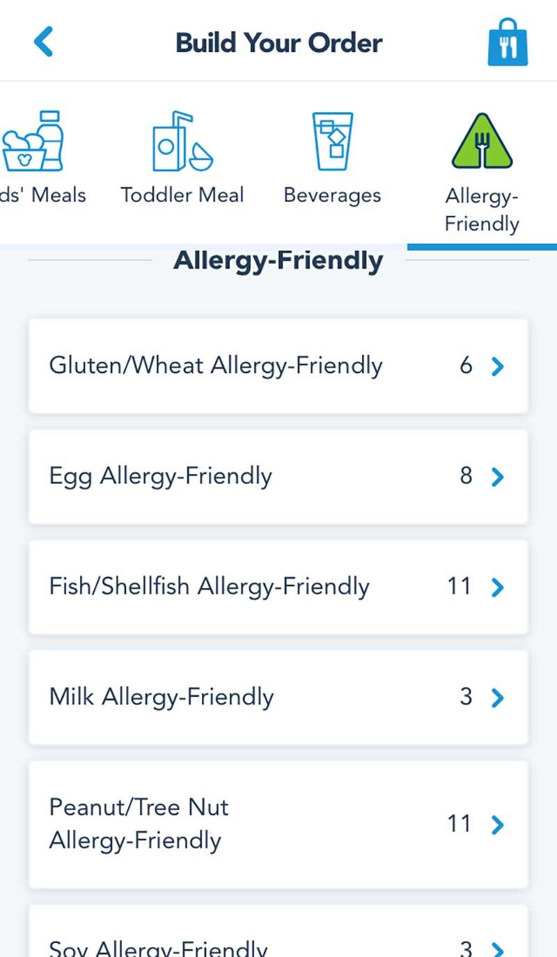 Disneyland Mobile Ordering Service - Food Allergies