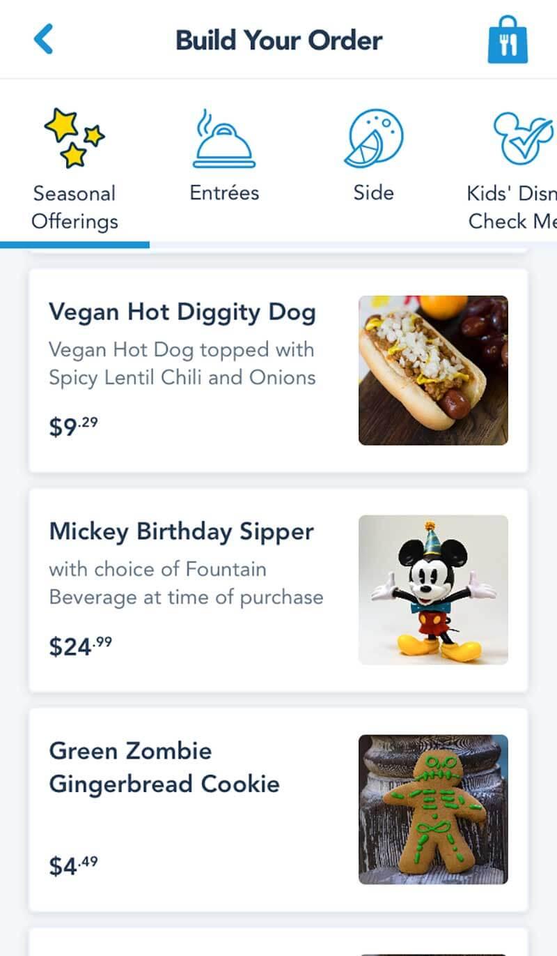 Disneyland Mobile Ordering - Seasonal Offerings