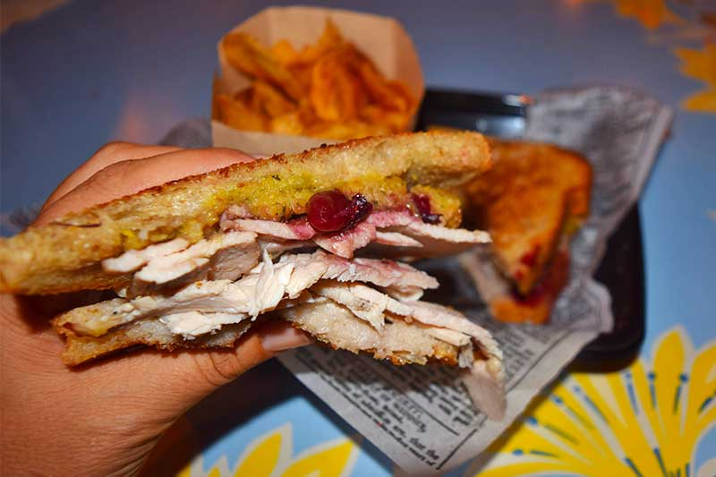 Our Guide to the Yummiest Holiday Treats and Foods at Disneyland - Thanksmas Sandwich