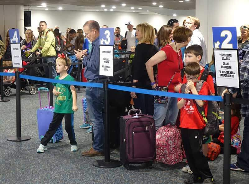 Tips for Flying with Babies and Kids - Lining Up for Disney Magical Express