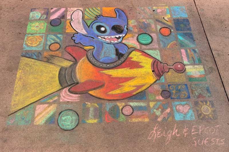 Epcot Festival of the Arts - Stitch Chalk Art
