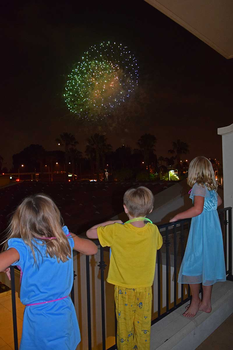 Visiting Los Angeles with Kids - Fireworks on Balcony