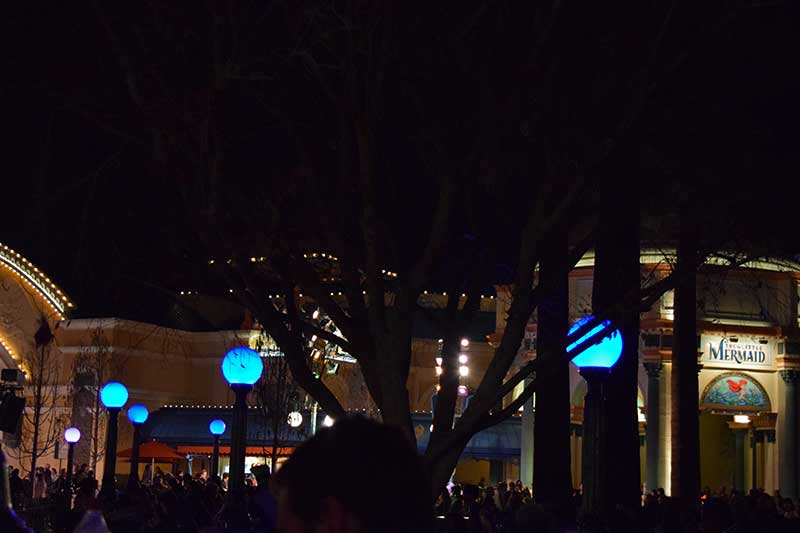 Disneyland's World of Color Viewing Area - Blue Light