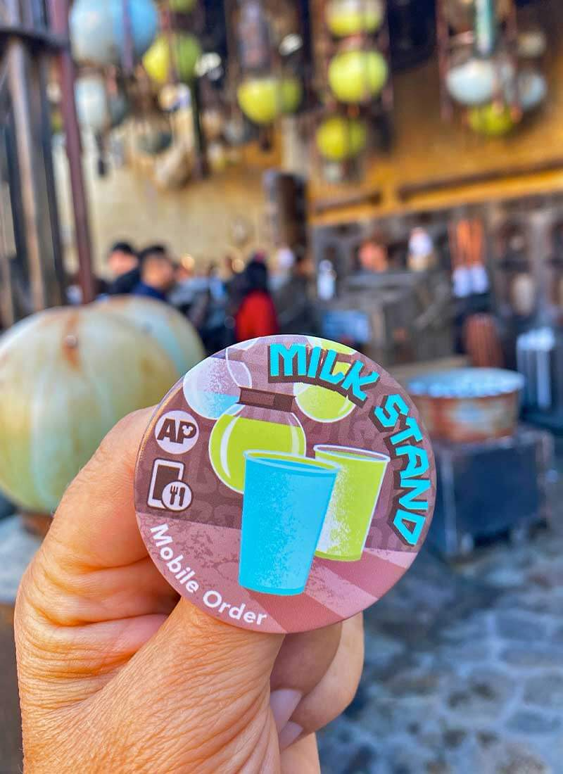 Getting the Scoop on Disneyland Mobile Order Service - Free Button from Milk Stand