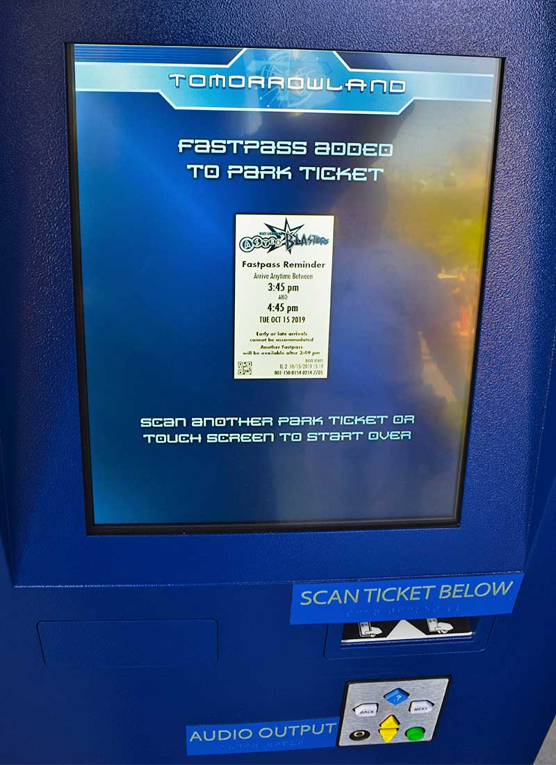 Guide to the Disneyland FASTPASS Service - FASTPASS Selection Screen