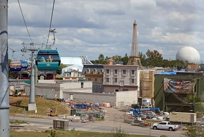 Epcot Changes at France Pavilion Seen from Skyliner