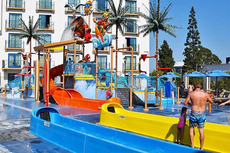 Best Los Angeles Hotels for Large Families - Courtyard Water Slides
