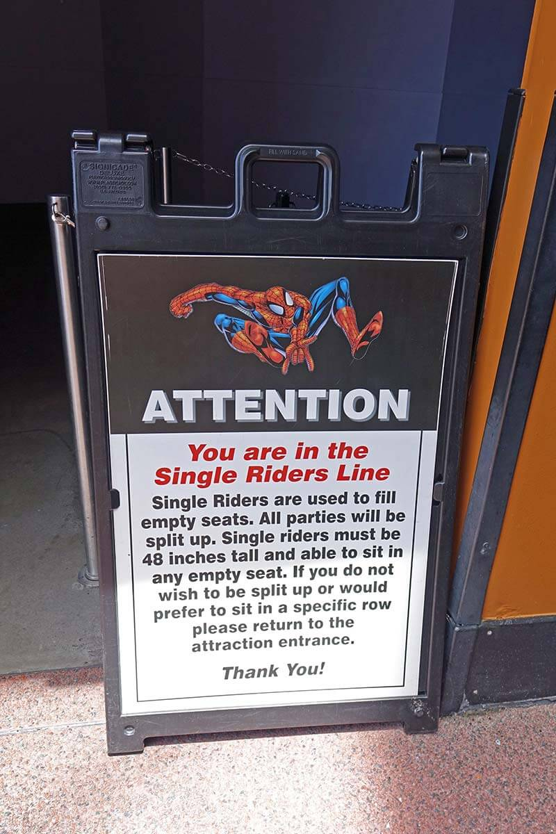 Single Rider Lines at Universal Orlando - The Amazing Adventures of Spider-Man Sign
