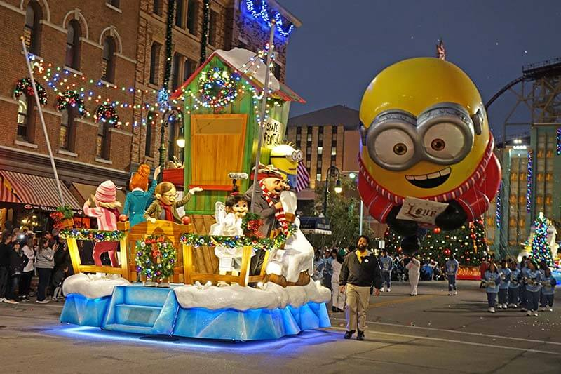 Universal Studios Christmas - Minion Float in Universal's Holiday Parade Featuring Macy's