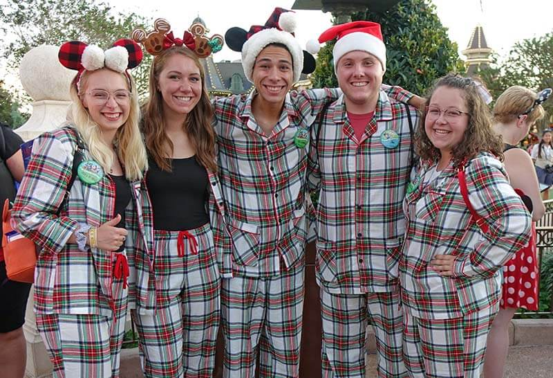 Mickey's Very Merry Christmas Party - Friends in Matching Christmas Pajamas
