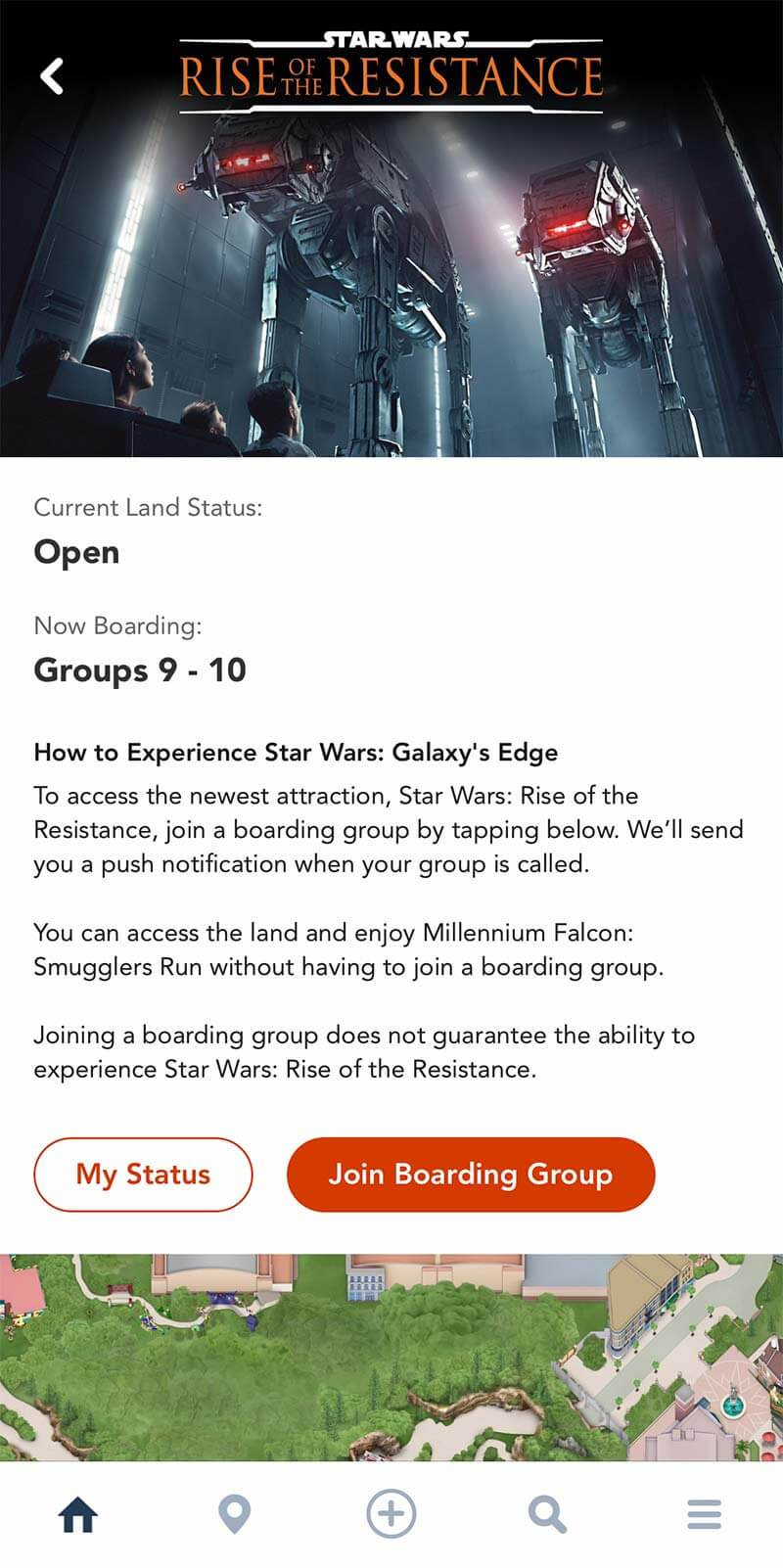 Rise of the Resistance - Screenshot of How You Can Join a Boarding Group through the My Disney Experience App