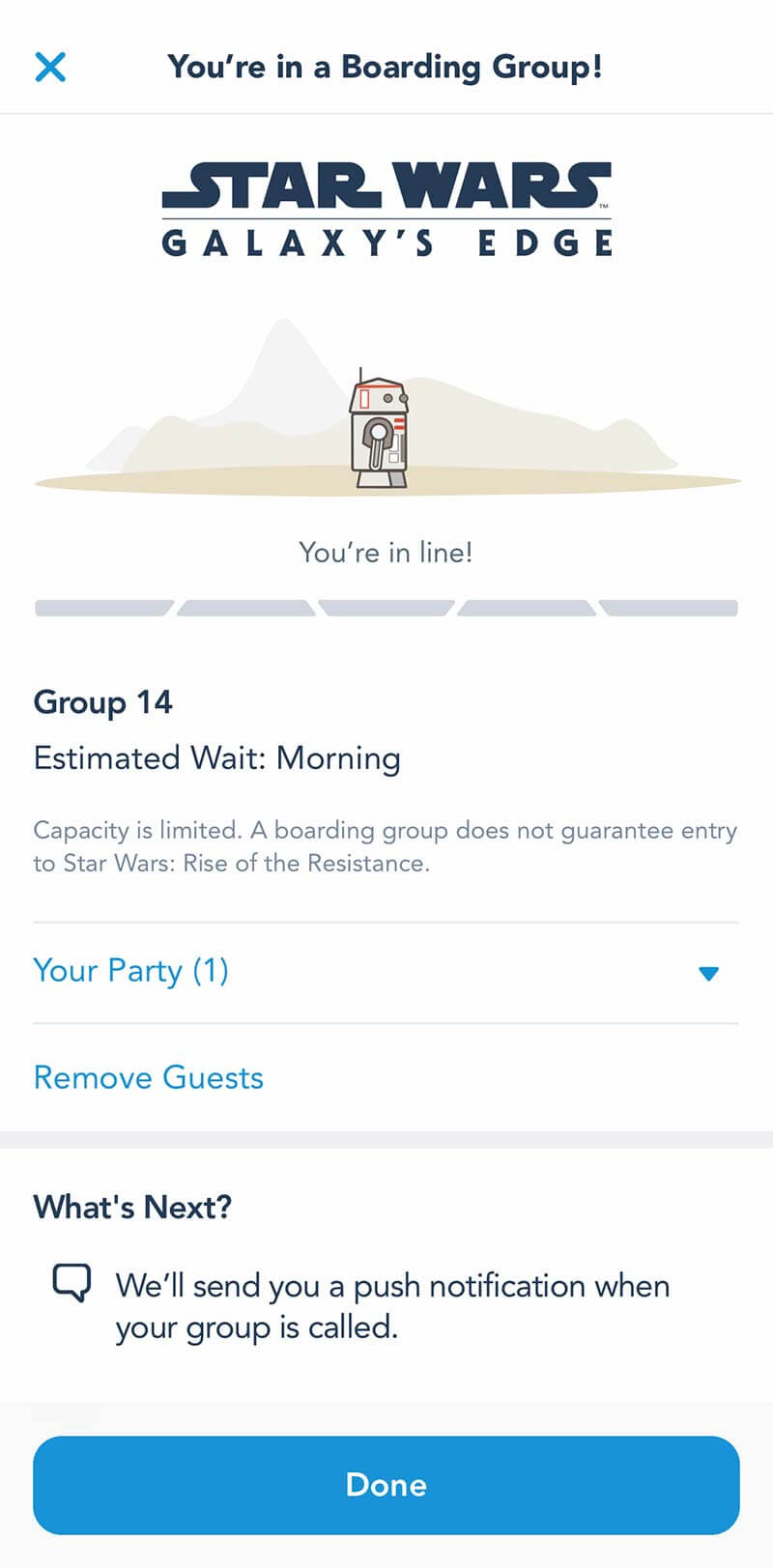 Rise of the Resistance - Screenshot of Boarding Group Confirmation