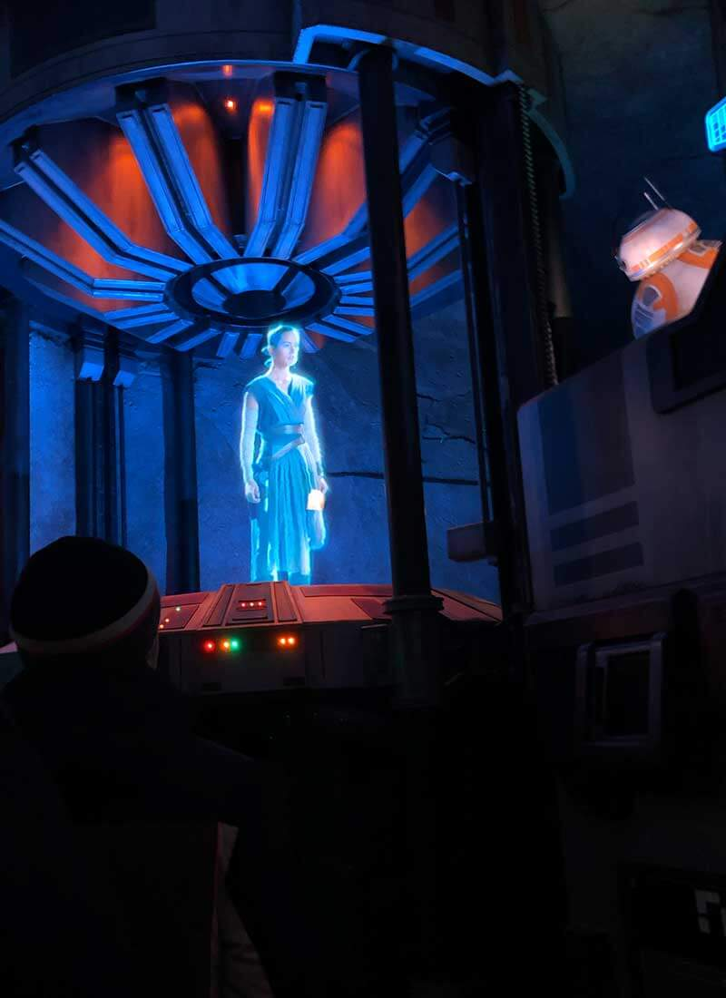 Our Galactic Guide to Star Wars: Galaxy's Edge at Disneyland - Rey on Rise of the Resistance