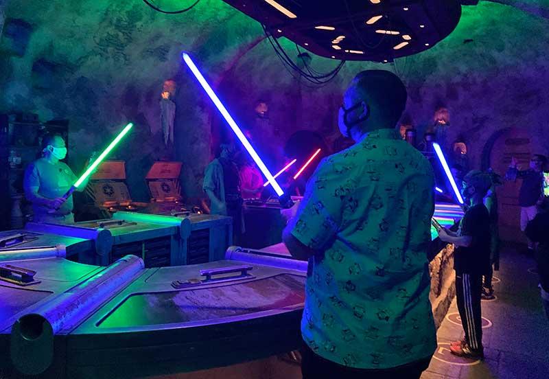 Using the Force to Build a Lightsaber Inside Savi's Workshop at Disney World