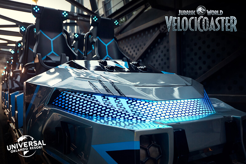 First Look at VelociCoaster Ride Vehicles - Hold On!
