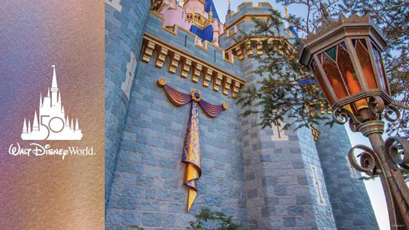 First Decoration for Walt Disney World's 50th Anniversary Celebration Now Glimmering on Cinderella Castle