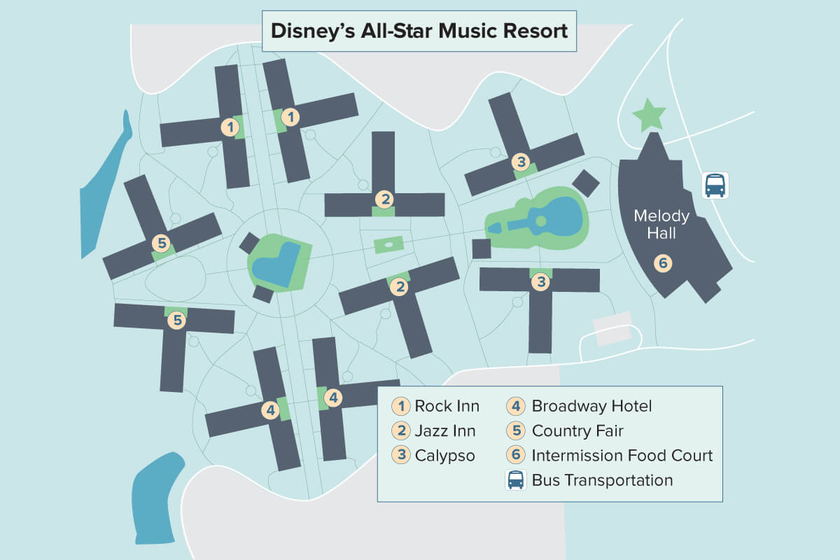 All Star Music Resort Map on