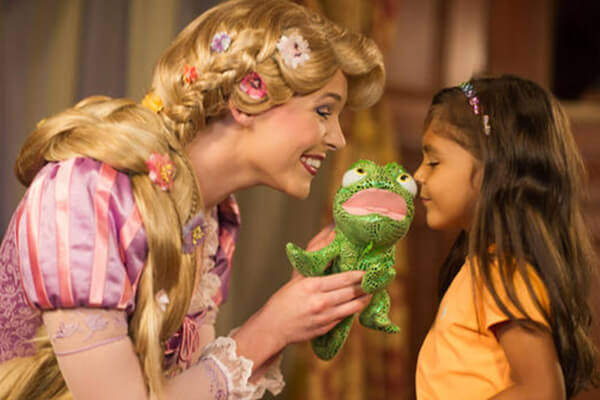 Rapunzel and Tiana at Princess Fairytale Hall