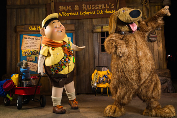 Russell and Dug at Discovery Island