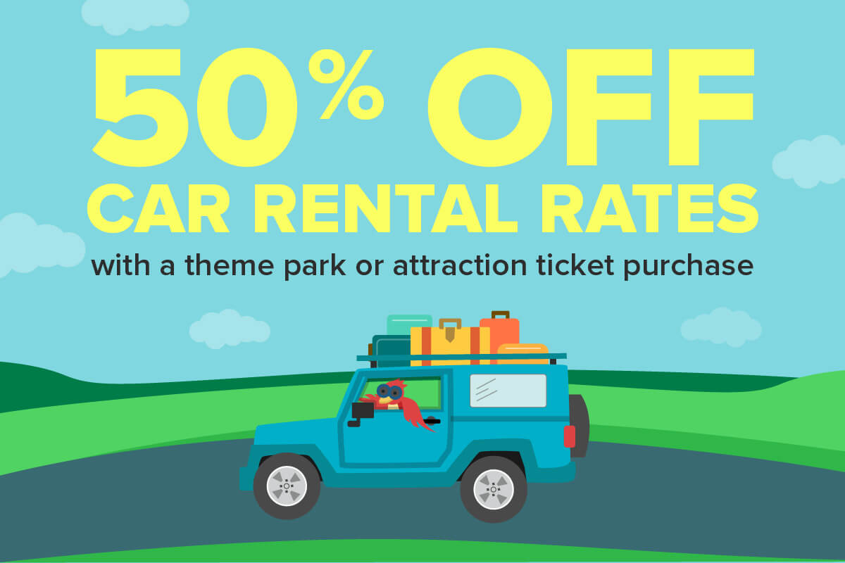 Save up to 50% OFF car rental rates with a theme park or attraction ticket purchase