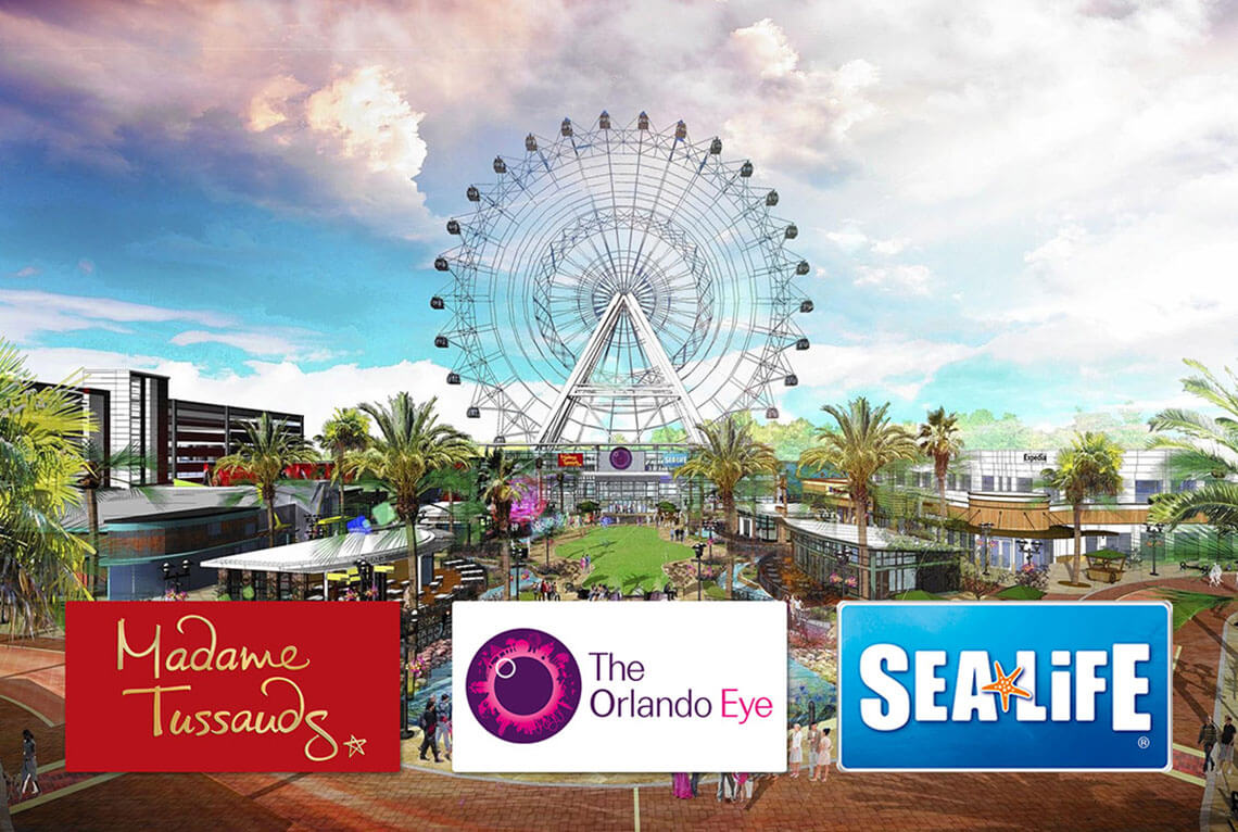 CHOOSE 2 ATTRACTIONS: The Orlando Eye, Sealife Aquarium, or Madame Tussauds Ticket