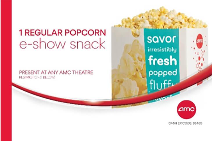 AMC: 1 Regular Popcorn Ticket
