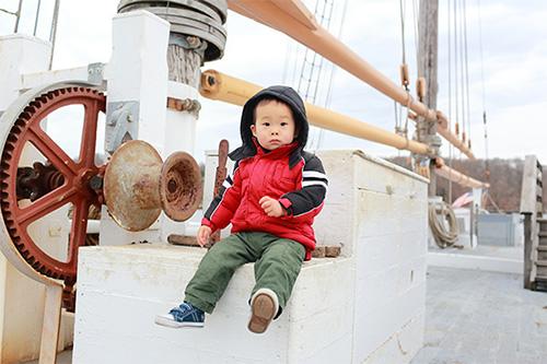Boston Harbor baby on ship