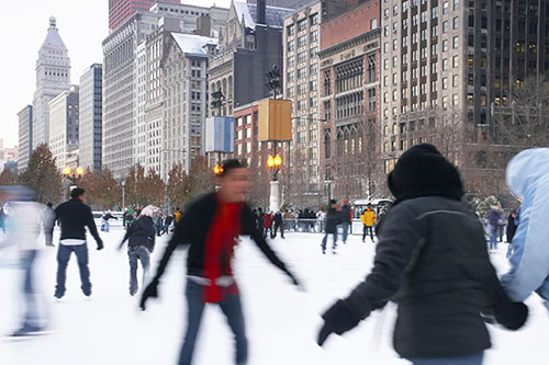 Chicago ice skating in winter