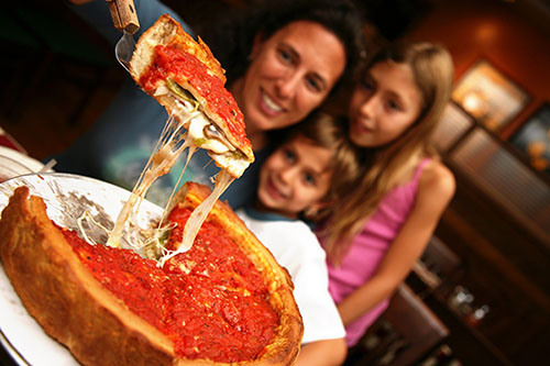 Chicago-style pizza by the slice