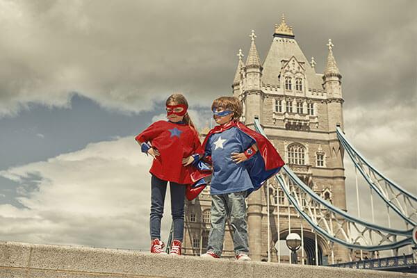 London Bridge with superhero kids