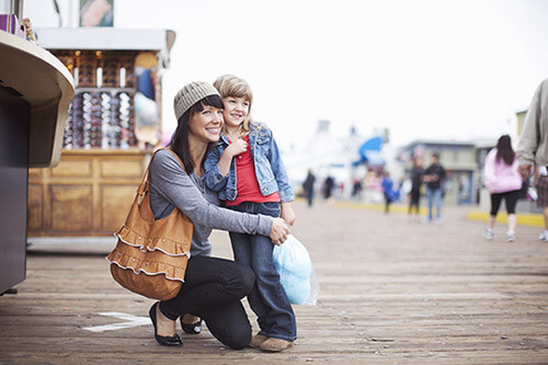 Los Angeles pier with family