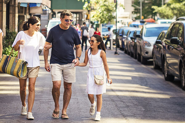 New York City family shopping in Manhattan