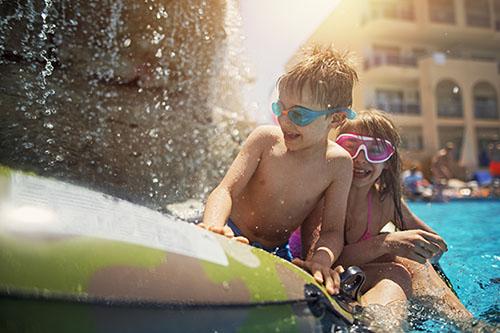 Orlando kids by pool